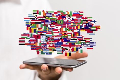 drapeau du monde sur smartphone