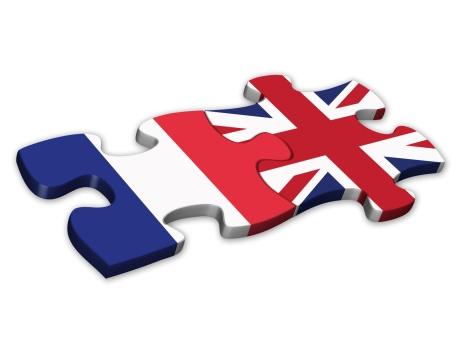 French & UK Flags (France English languages translation jigsaw)
