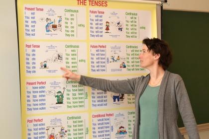 Prof d'anglais montrant le tableau des temps aux élèves